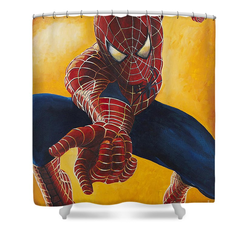 Spiderman Shower Curtain Featuring The Painting By Gary Doak