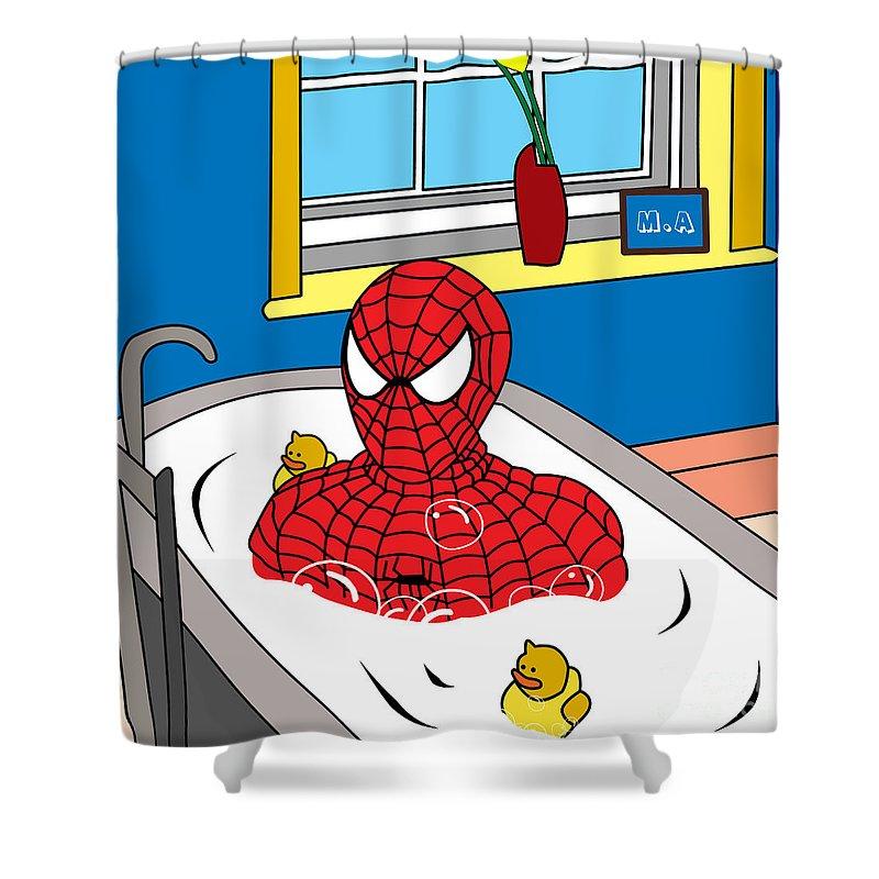 Spiderman Shower Curtain Featuring The Digital Art By Mark Ashkenazi