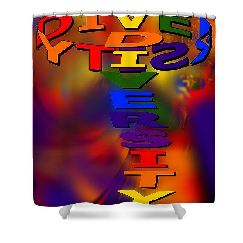 Diversity Shower Curtain featuring the digital art Spinning Diversity by Pharris Art
