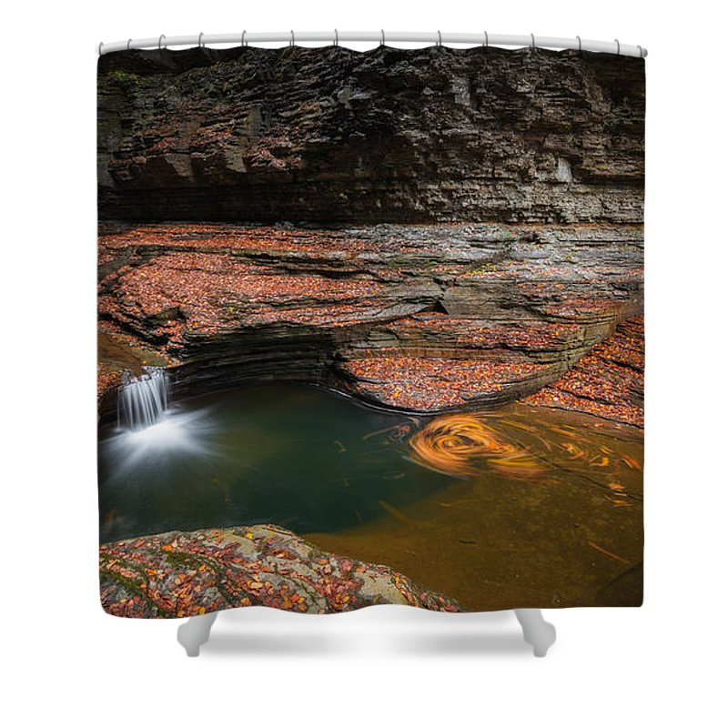 Cavern Cascade Shower Curtain featuring the photograph Spinning Leaves by Michael Ver Sprill