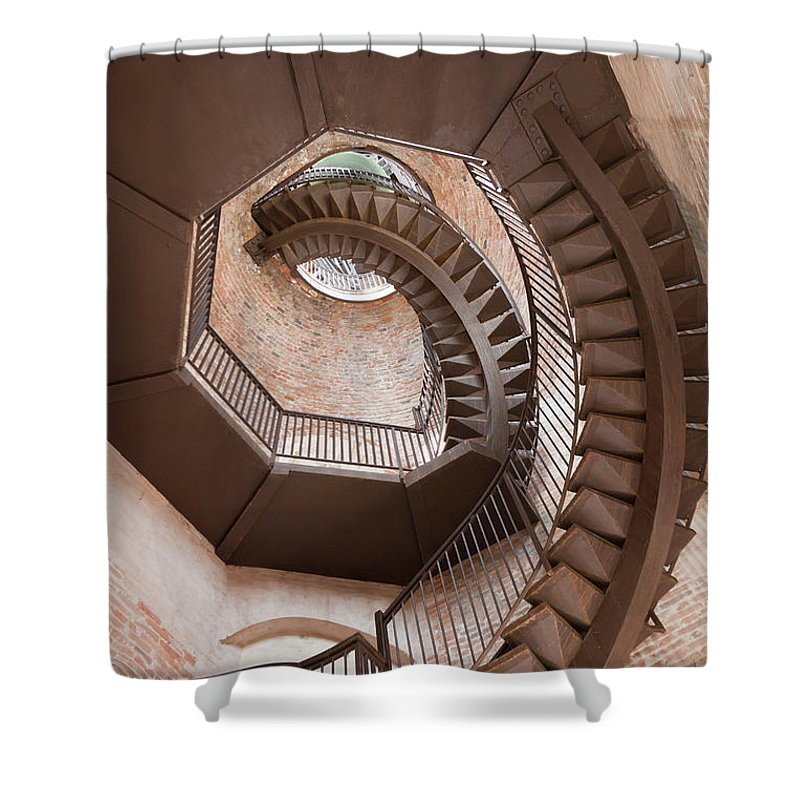 Tranquility Shower Curtain featuring the photograph Spiral Staircase In Lamberti Tower by Buena Vista Images