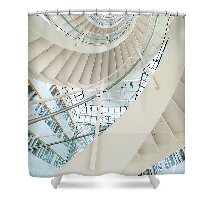 Steps Shower Curtain featuring the photograph Spiral Staircase Inside Office Complex by Blurra