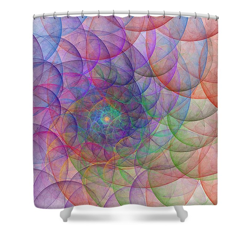 Digital Art Spirale Fractal Fractals Abstract Color Colorful Expressionism Impressionism Shower Curtain featuring the painting Spirale by Steve K