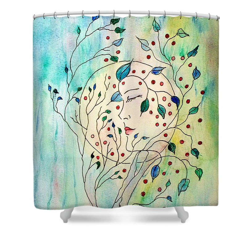 Watercolor Painting Shower Curtain featuring the painting Spirit Of The Forest by Robin Monroe