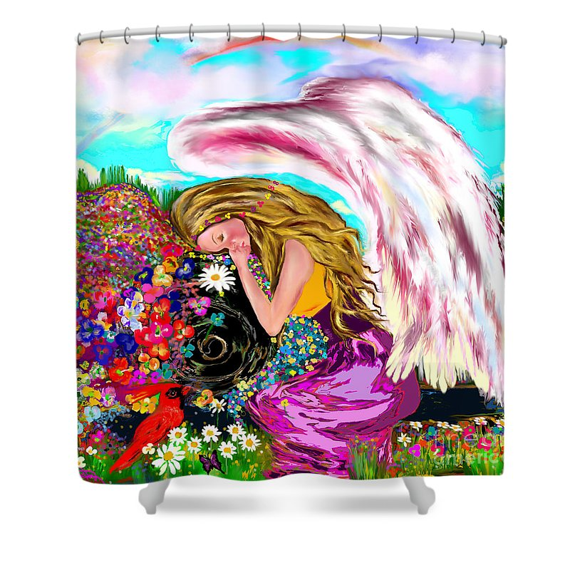 Angel Shower Curtain featuring the digital art Spiritual Awakening by Lori Lovetere