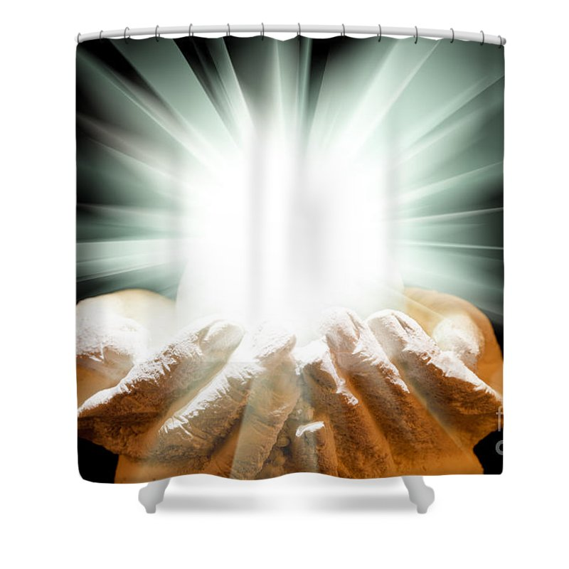 Spiritual Shower Curtain Featuring The Photograph Spiritual Light In Cupped  Hands On A Black Background By