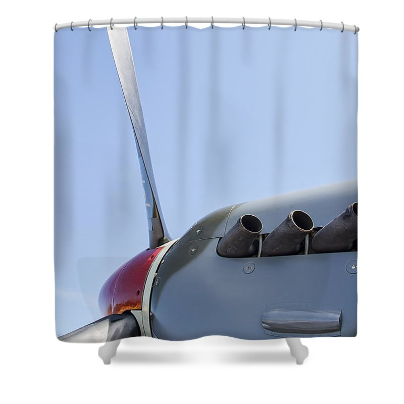 Spitfire Shower Curtain featuring the photograph Spitfire Propeller And Exhaust by Daniel Hagerman