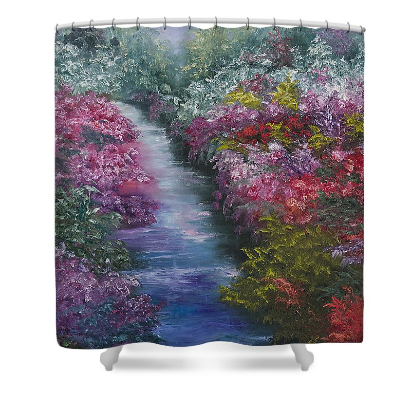 Landscape Shower Curtain featuring the painting Splash Of Spring by Darice Machel McGuire