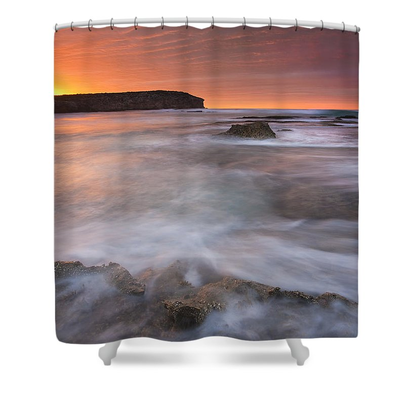 Sunrise Shower Curtain featuring the photograph Splitting The Tides by Mike Dawson