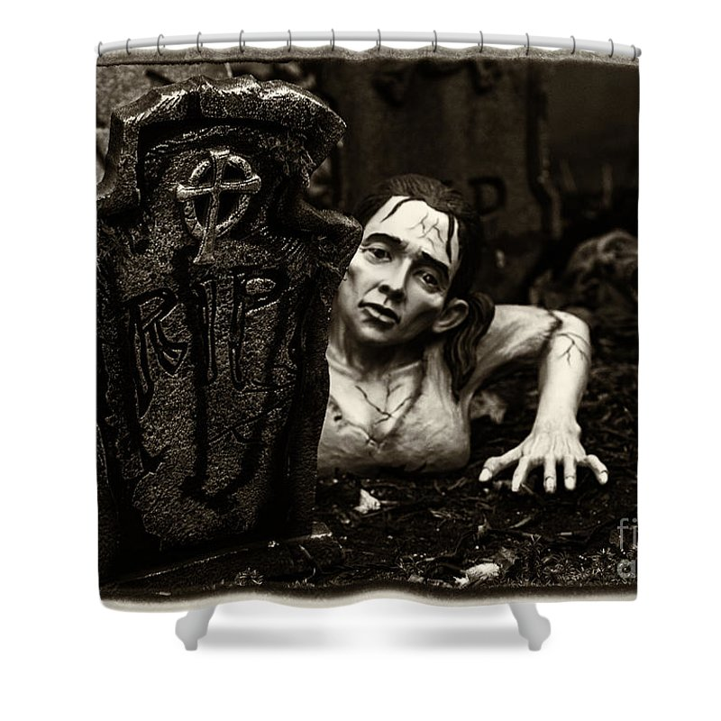 Zombie Shower Curtain featuring the photograph Zombie Lady Sepia by Iris Richardson