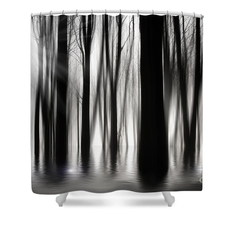 Woods Shower Curtain Featuring The Photograph Spooky By Simon Bratt Photography LRPS