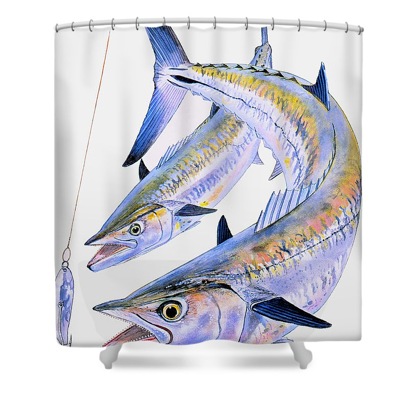 Kingfish Shower Curtain featuring the painting Spoon King by Carey Chen