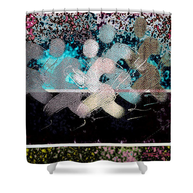 Theo Danella Shower Curtain featuring the digital art Sport B 13 B by Theo Danella