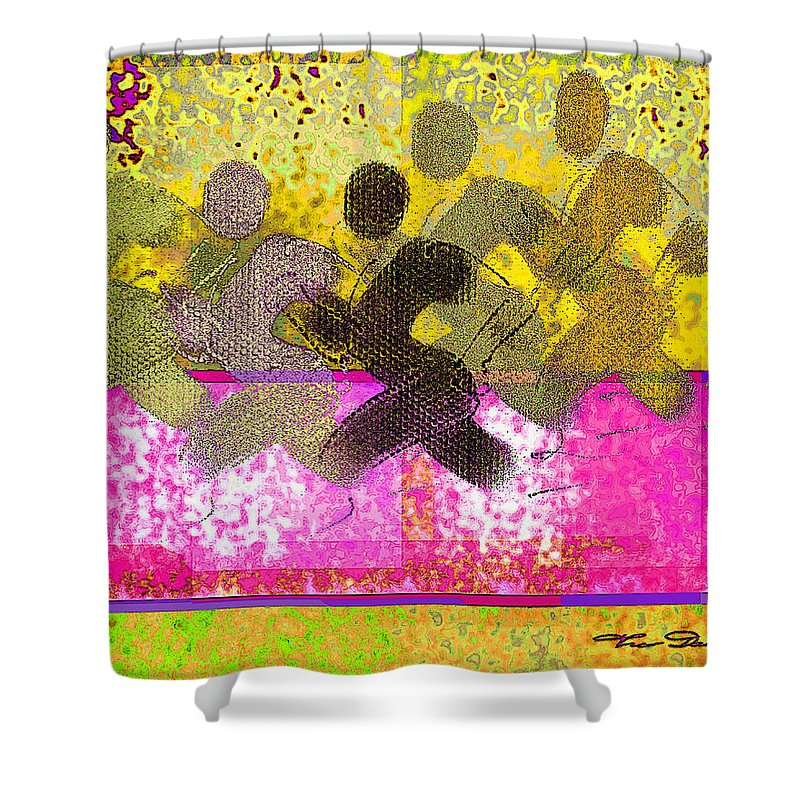 Yellow Shower Curtain featuring the digital art Sports B 2 by Theo Danella