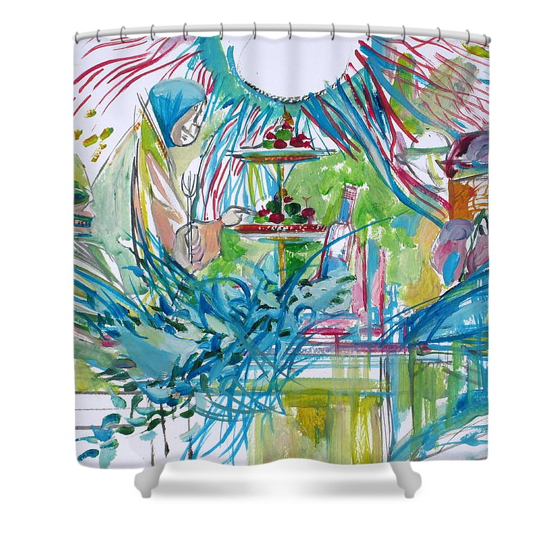 People Shower Curtain featuring the painting Spread Of Energies by Fabrizio Cassetta