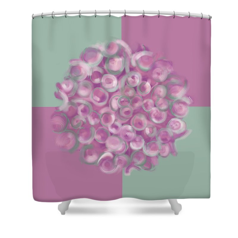 Abstract Shower Curtain featuring the digital art Spreeze Rose by Christine Fournier