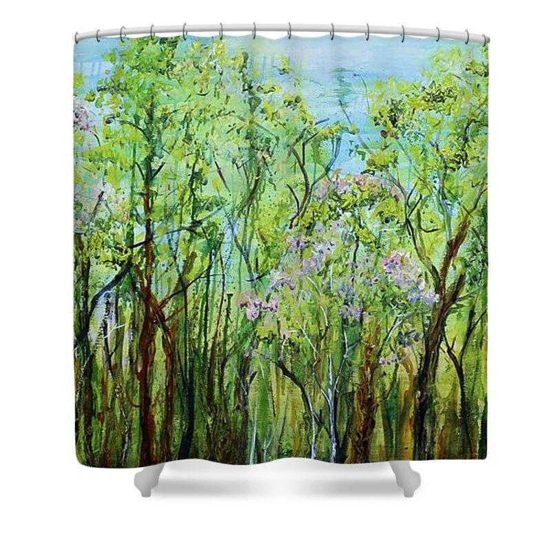Landscape Shower Curtain featuring the painting Spring Arpeggio by Regina Valluzzi