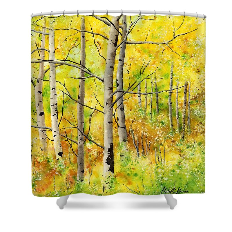 Trees Shower Curtain featuring the painting Spring Aspens by Hailey E Herrera
