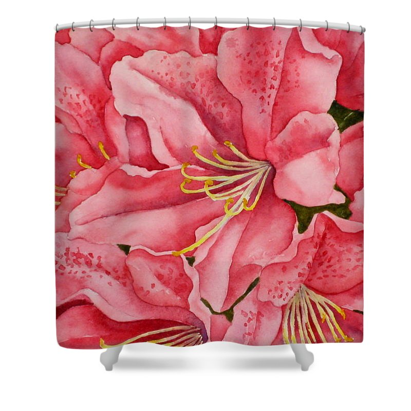 Watercolor Shower Curtain featuring the painting Spring Azalea by Darla Brock