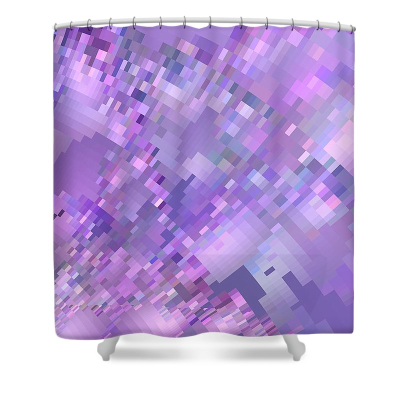 Pixelated Shower Curtain featuring the digital art Spring Breeze Pixelated Art by Judi Suni Hall
