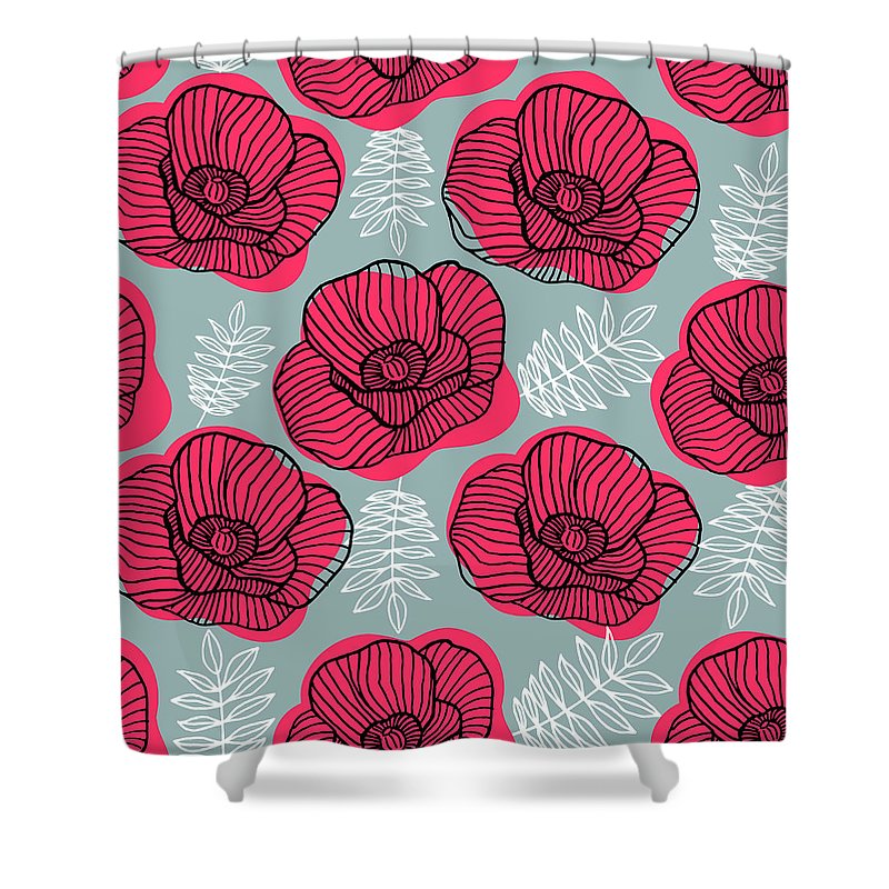 Flowerbed Shower Curtain featuring the digital art Spring Bright Seamless Floral Pattern by Ekaterina Bedoeva