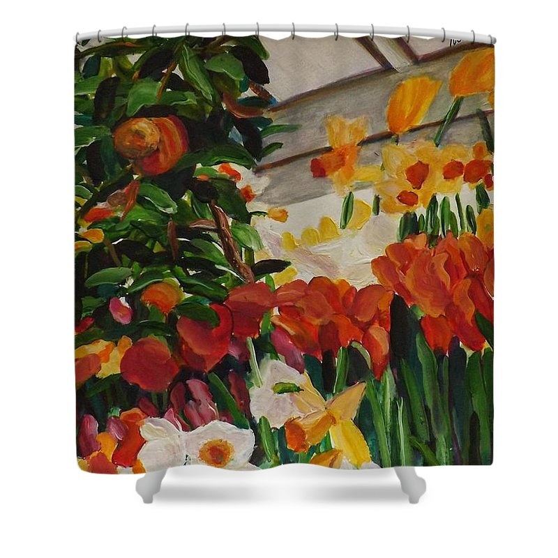 Spring Shower Curtain featuring the painting Spring Flowers by Richard Nowak