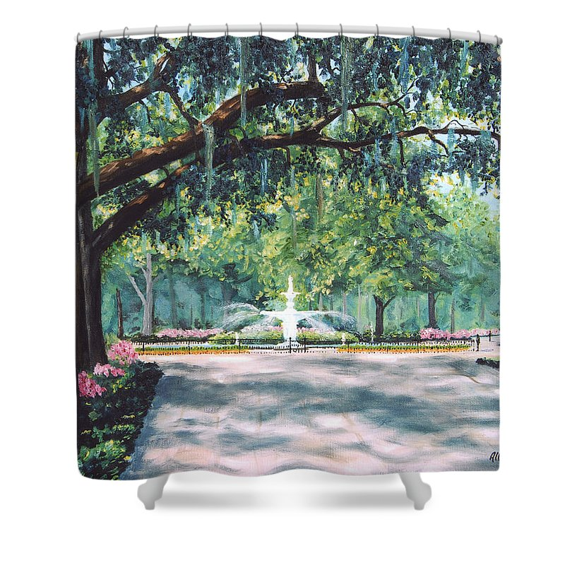 Savannah Shower Curtain featuring the painting Spring In Forsythe Park by Stanton Allaben