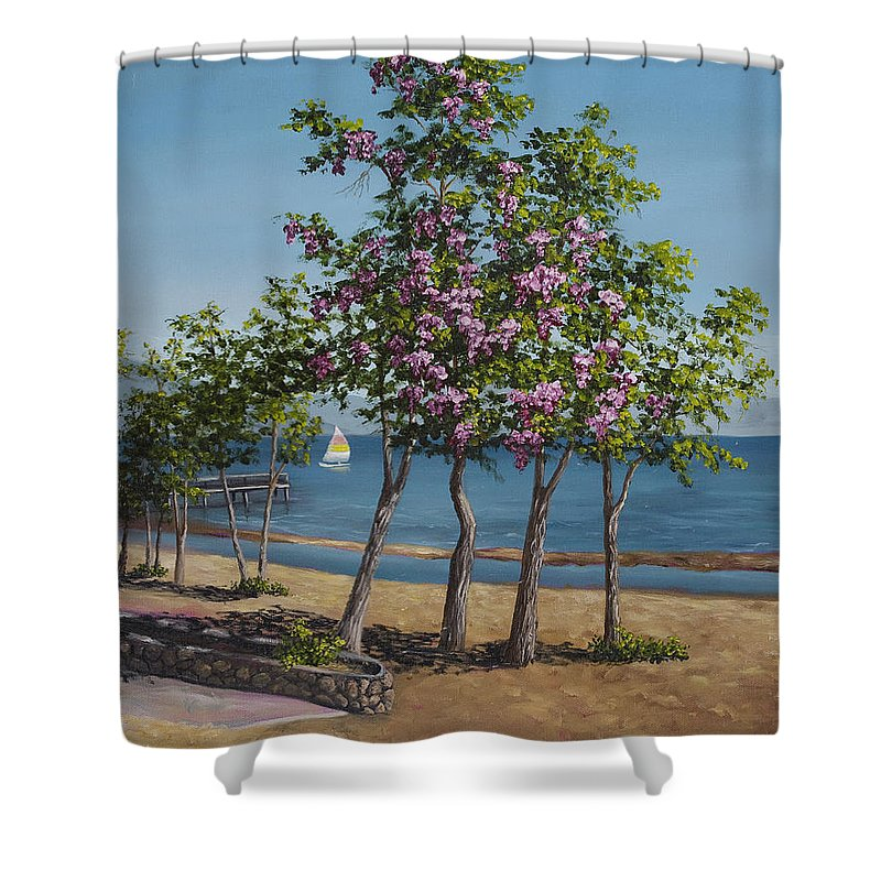 Landscape Shower Curtain featuring the painting Spring In Kings Beach Lake Tahoe by Darice Machel McGuire