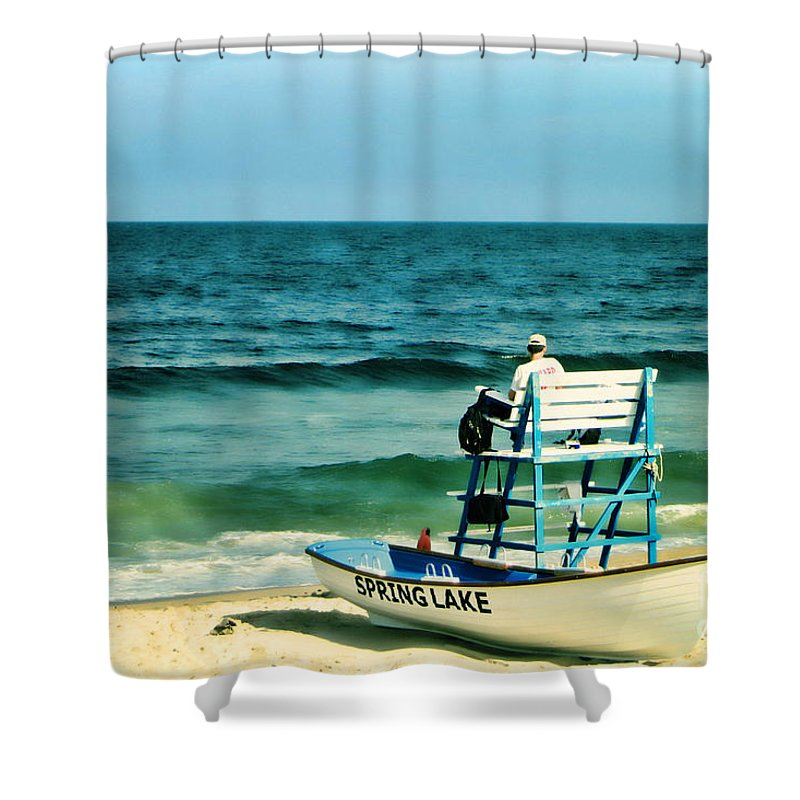 Lifeguard Shower Curtain featuring the photograph Spring Lake by Olivier Le Queinec