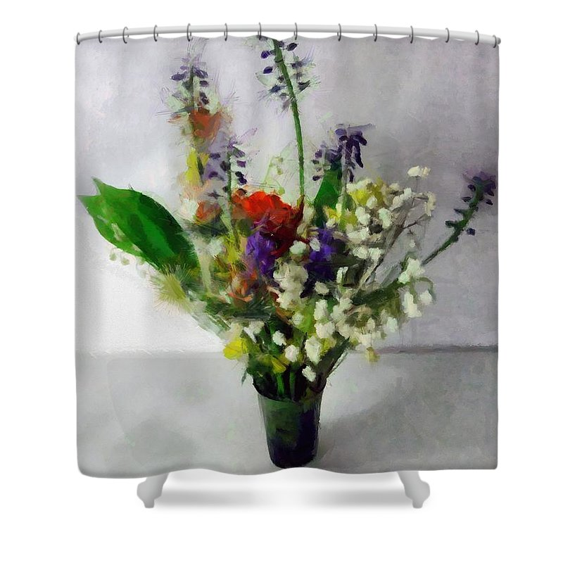 Flowers Shower Curtain featuring the painting Spring Motley by RC DeWinter