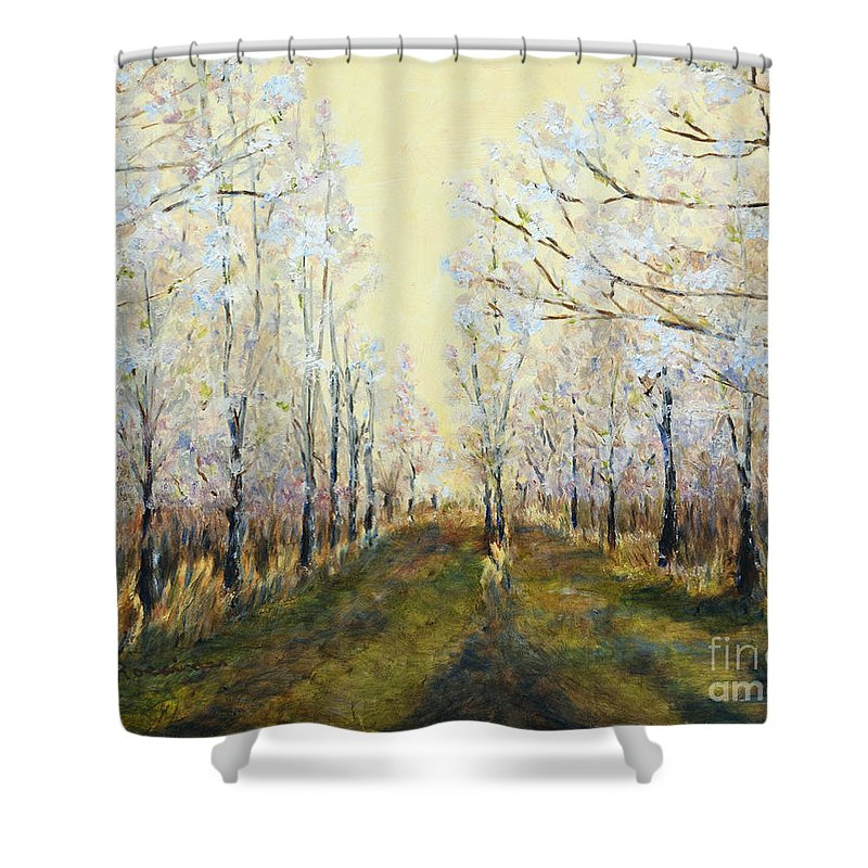 Blue Moon Acres Shower Curtain featuring the painting Blue Moon Acres by Cindy Roesinger