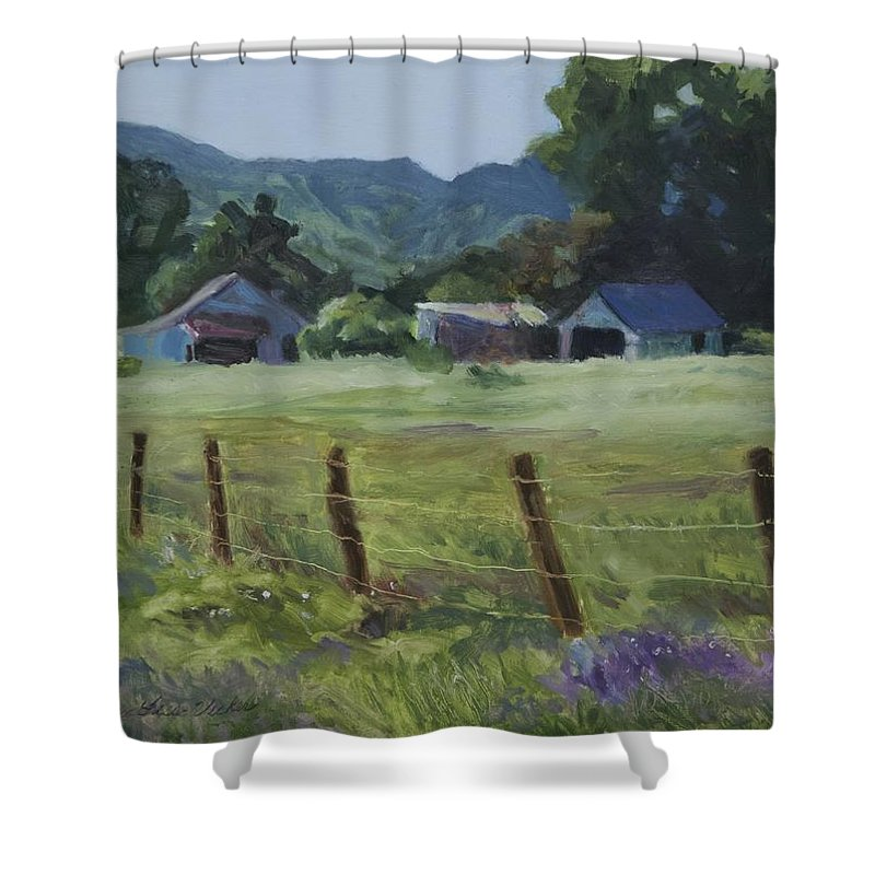 Landscape Shower Curtain featuring the painting Spring Pasture by Karen Fess