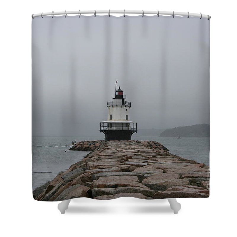 Lighthouse Shower Curtain featuring the photograph Spring Point Ledge Lighthouse by Christiane Schulze Art And Photography