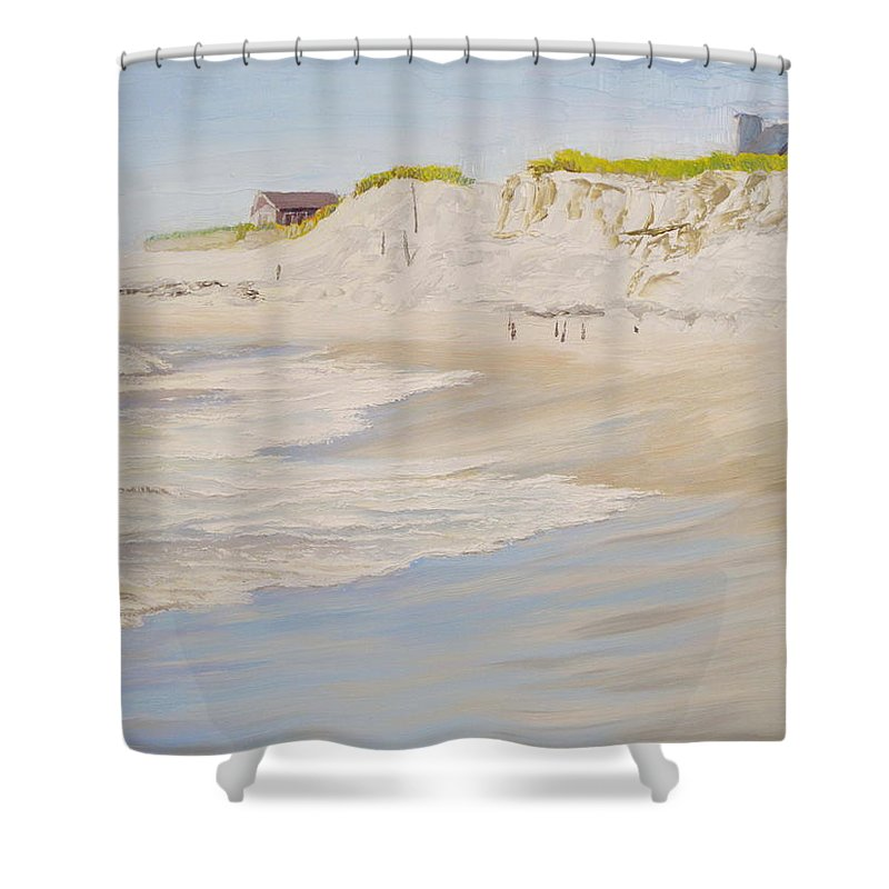 Seascape Shower Curtain featuring the painting Spring Tide After Sandy by Lea Novak
