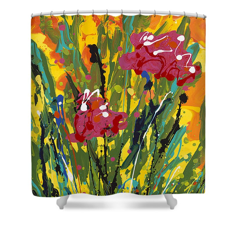 Spring Shower Curtain featuring the painting Spring Tulips Triptych Panel 3 by Nadine Rippelmeyer