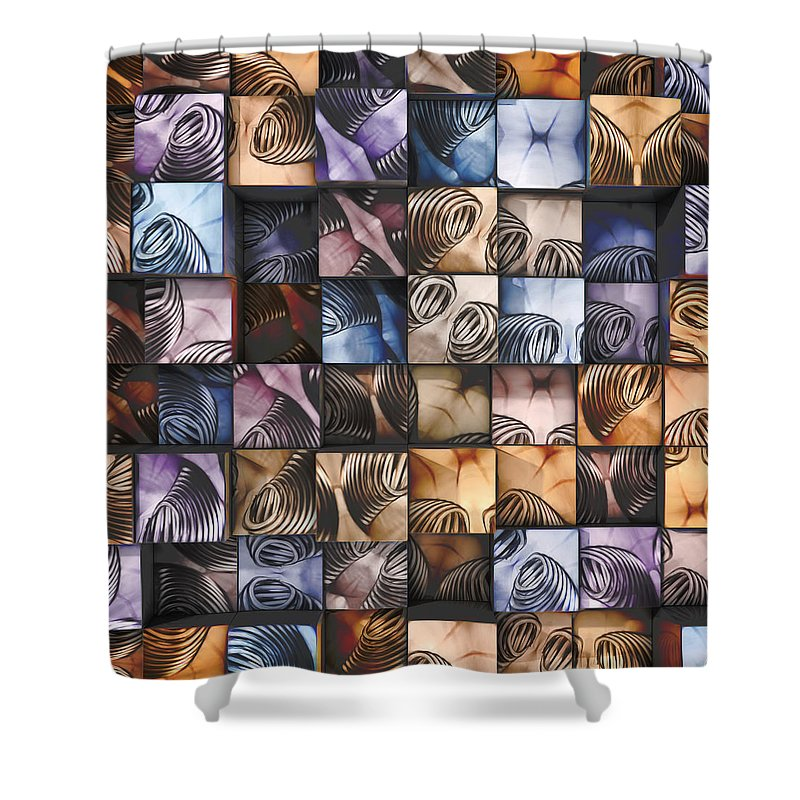 Abstract Art Shower Curtain featuring the photograph Springs And Squares by Scott Norris