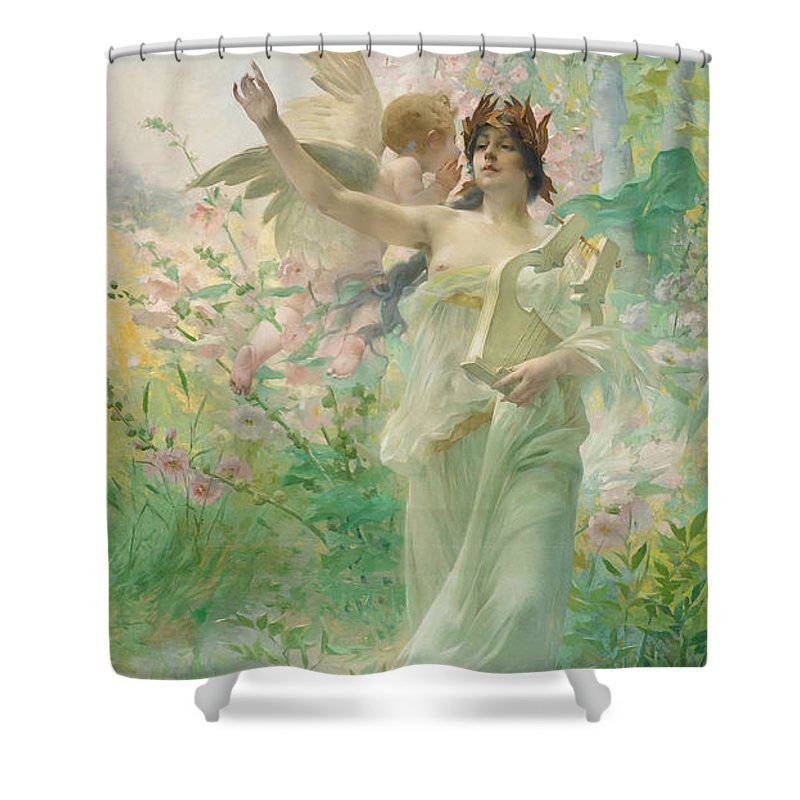 Springtime Allegory Shower Curtain featuring the painting Springtime Allegory by Paul Francois Quinsac