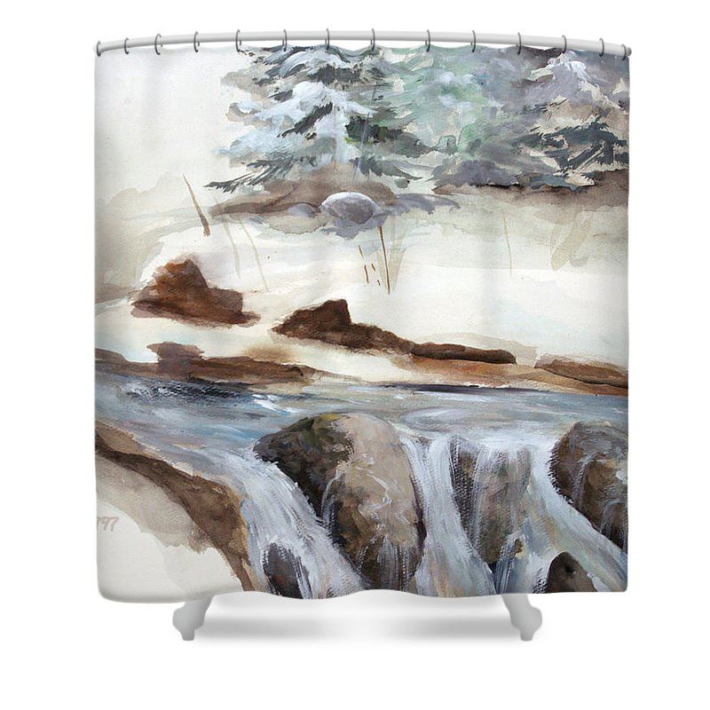 Rick Huotari Shower Curtain featuring the painting Springtime by Rick Huotari