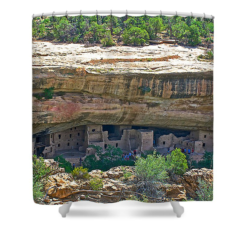 Spruce Tree House Pueblo On Chapin Mesa In Mesa Verde National Park Shower Curtain featuring the photograph Spruce Tree House Pueblo On Chapin Mesa In Mesa Verde National Park-colorado by Ruth Hager
