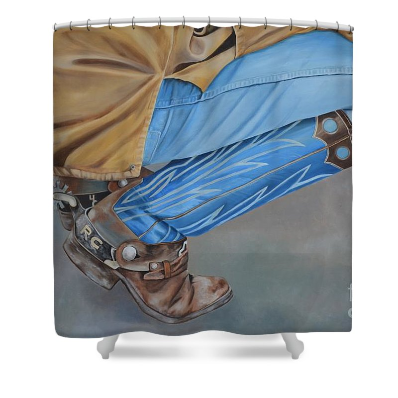 Art Shower Curtain featuring the painting Spur Squatting by Mary Rogers