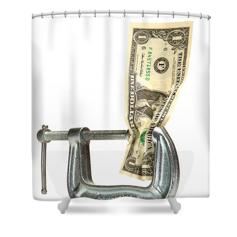 Dollar Shower Curtain featuring the photograph Squeezing The Dollar by Olivier Le Queinec