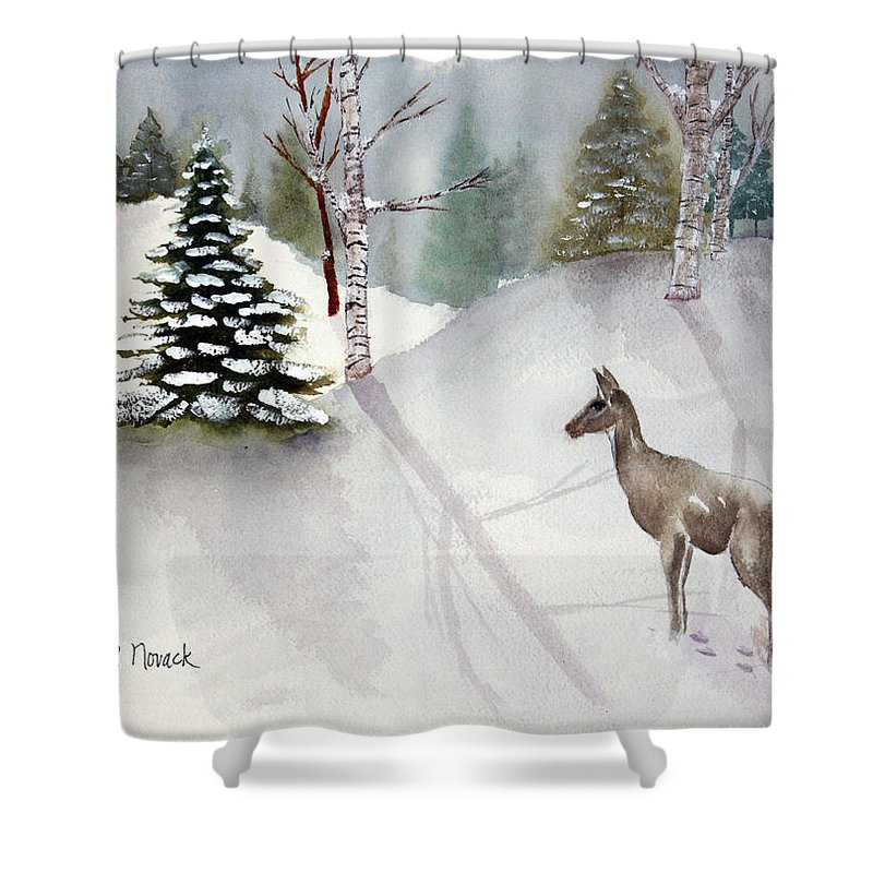 Deer Shower Curtain featuring the painting Ssssh by Patricia Novack