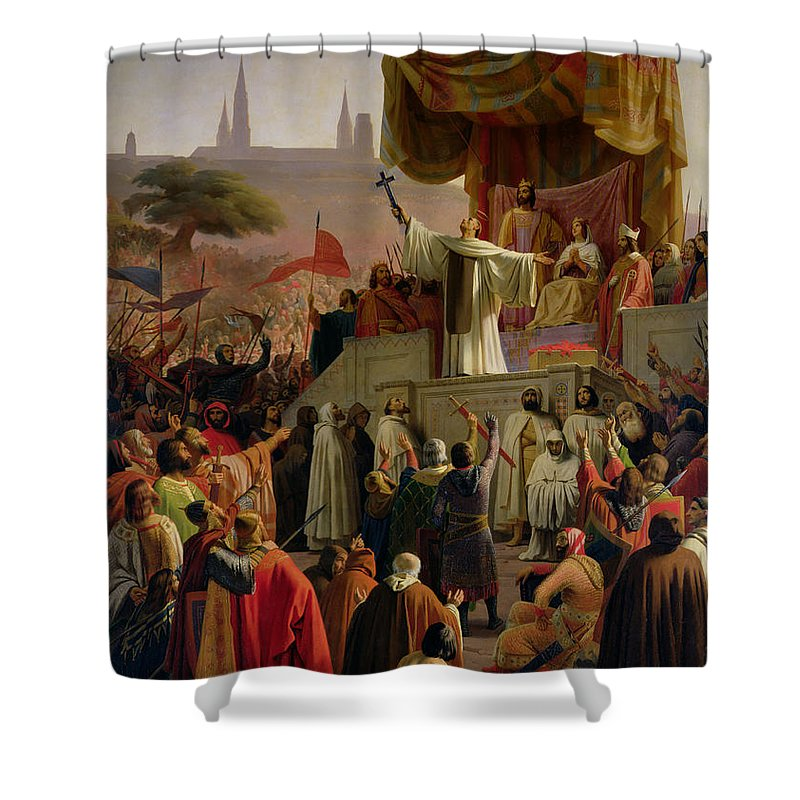 St Bernard Shower Curtain featuring the painting St Bernard Preaching The Second Crusade In Vezelay by Emile Signol
