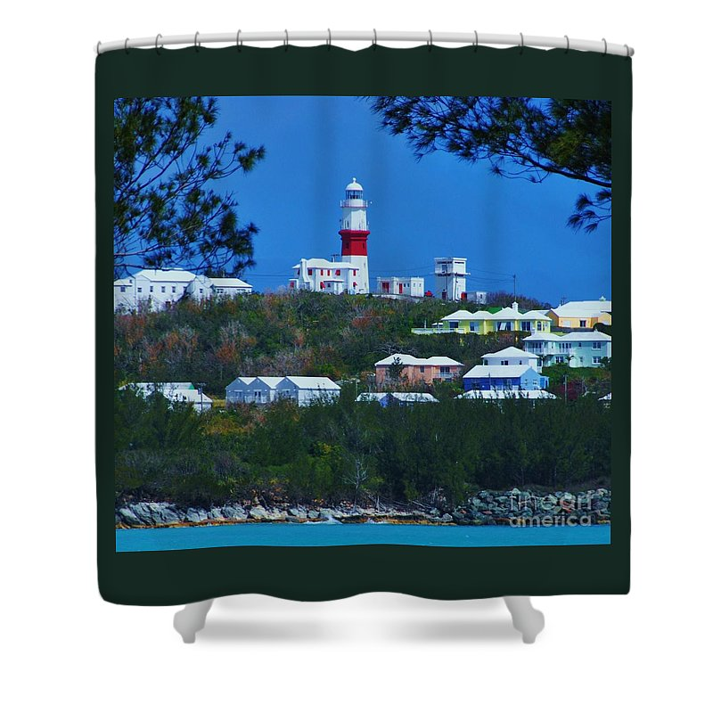 Bermuda Art Landmark Travel Lighthouse Tourism Serene Tree Outdoors Iconic Image St Davids Rural Destination Canvas Print Strongly Suggested Metal Frame Very Suitable Poster Print Available Ob Phone Cases Throw Pillows Duvet Covers Tote Bags Shower Curtains Pouches T Shirts And Now Mugs Shower Curtain featuring the photograph St. David's Light Bermuda by Marcus Dagan