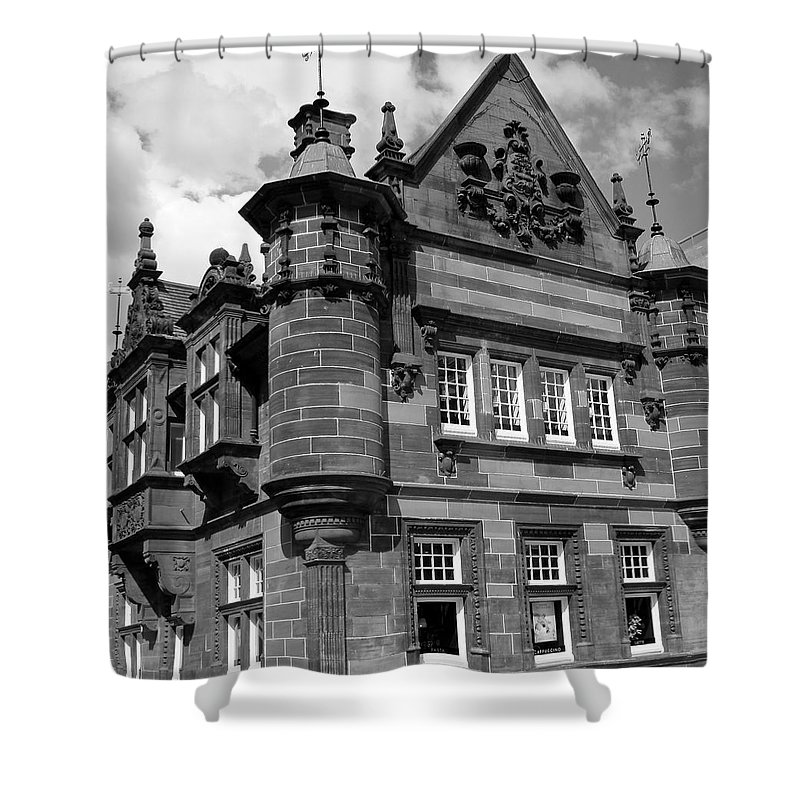 Black And White Shower Curtain featuring the photograph St. Enoch Subway Station 1 by Denise Mazzocco