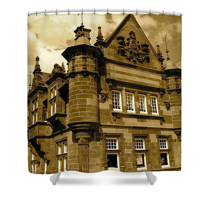 Sepia Shower Curtain featuring the photograph St. Enoch Subway Station 2 by Denise Mazzocco