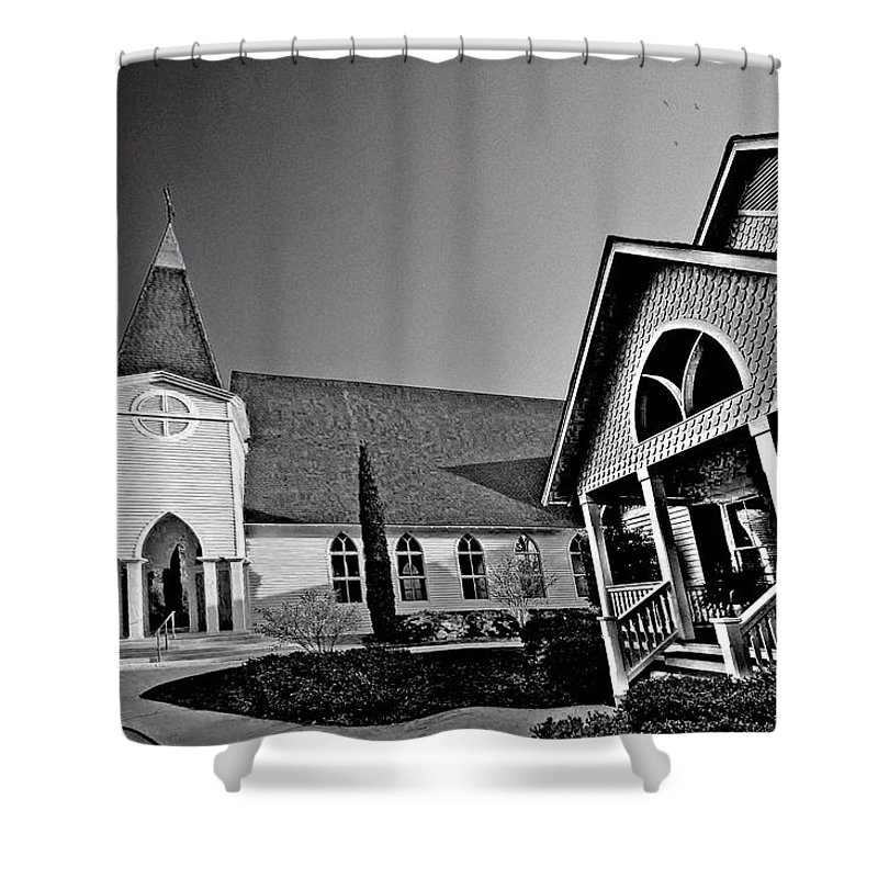 Alabama Shower Curtain featuring the digital art St. Francis - Abstract Bw by Michael Thomas