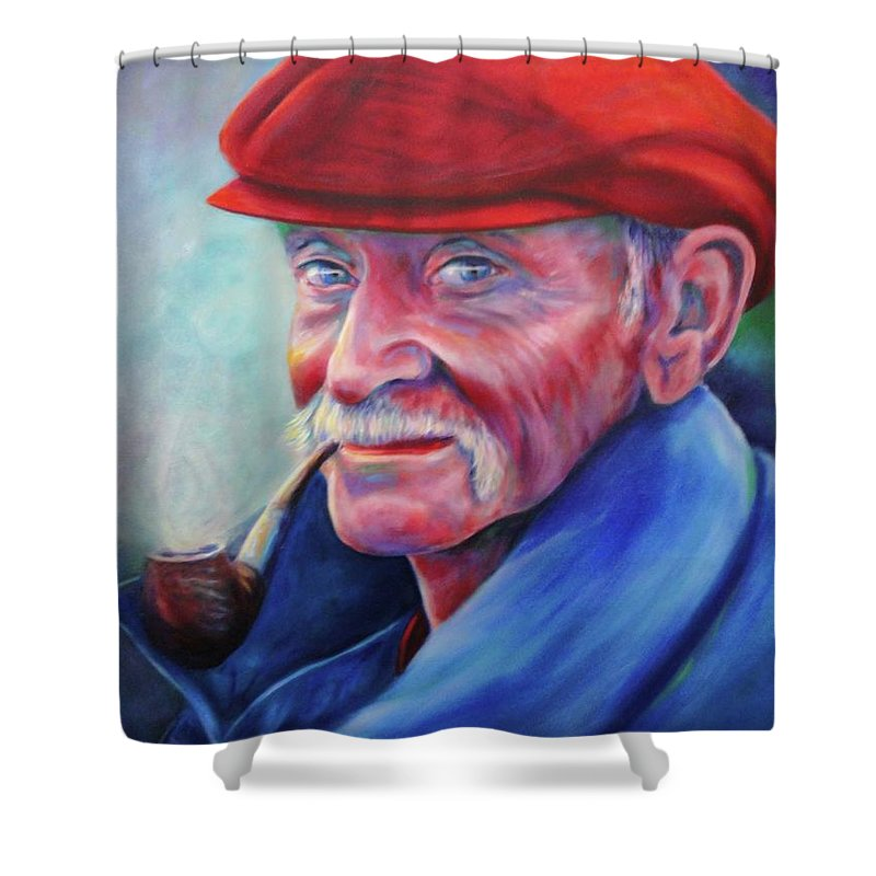 Portrait Shower Curtain featuring the painting St. Francis by Shannon Grissom