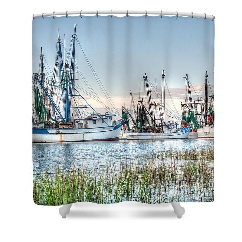 Shrimp Boats Shower Curtain Featuring The Photograph St Helena Island By Scott Hansen