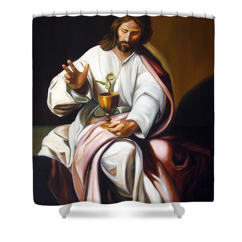 Classic Art Shower Curtain featuring the painting St John The Evangelist by Silvana Abel